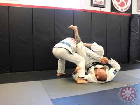 Omoplata from cross sleeve grip with standing opponent