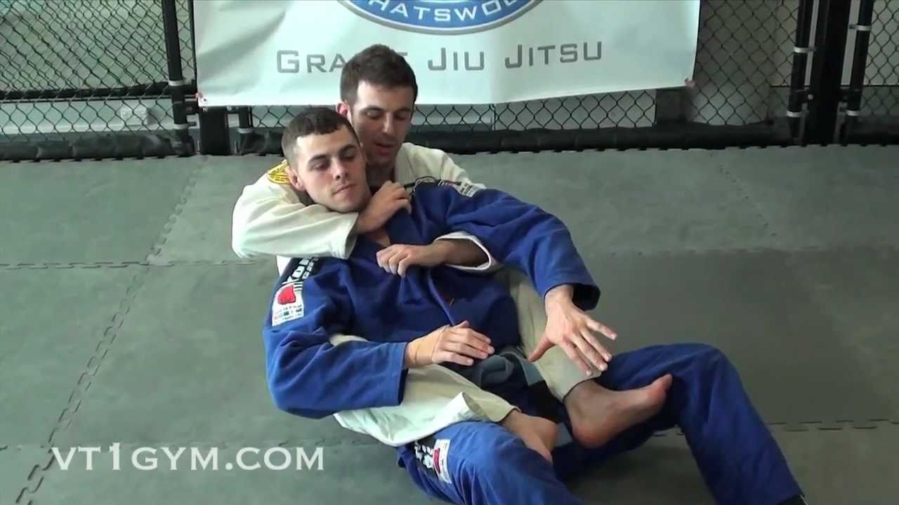 Collar choke from the back using your foot on the lapel